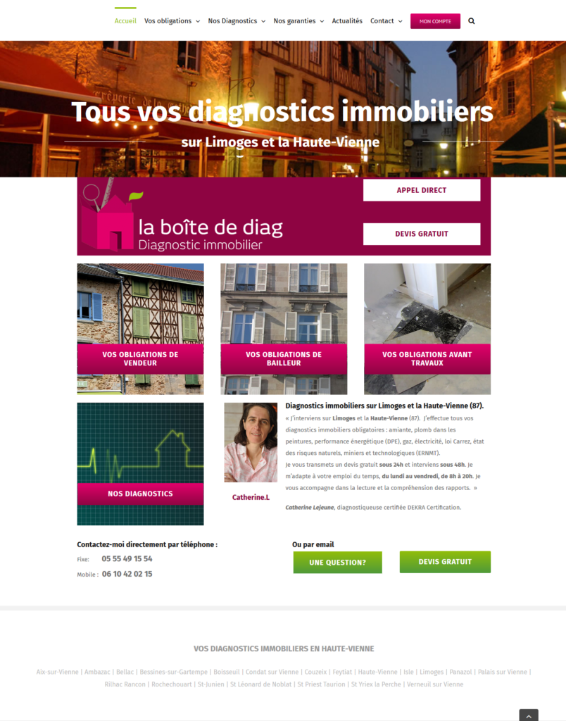 screenshot diagnostic immobilier-limoges.fr Juillet 2018